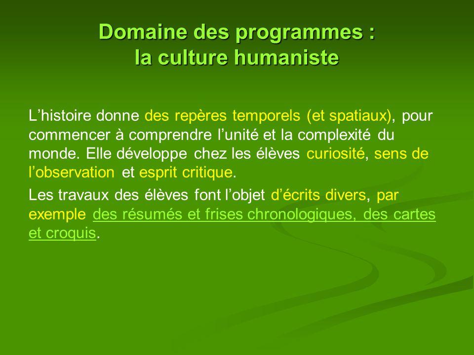 Domaine des programmes : la culture humaniste L'histoire donne des repères temporels (et spatiaux), pour commencer à comprendre l'unité et la complexité du monde.