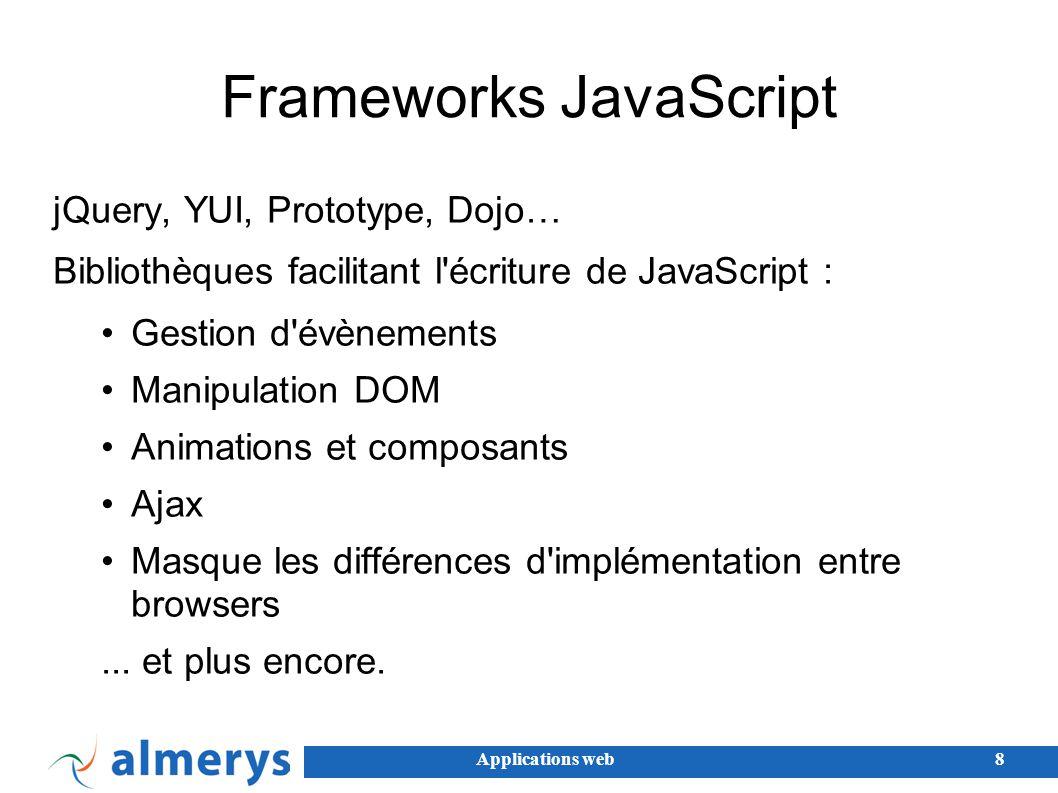 Applications web9 AJAX Asynchronous Javascript and XML Permettre de construire des applications web a contenu dynamique Javascript + CSS + DOM + XML/JSON + XMLHttpRequest