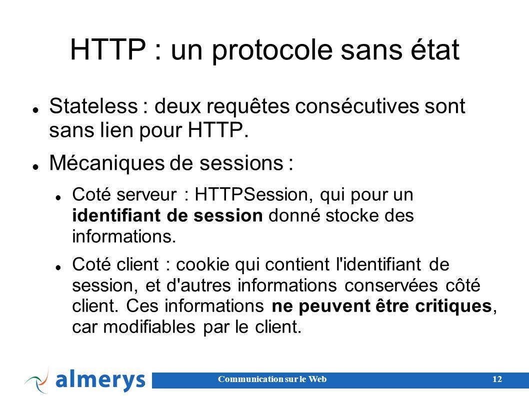 Communication sur le Web12 HTTP : un protocole sans état Stateless : deux requêtes consécutives sont sans lien pour HTTP.