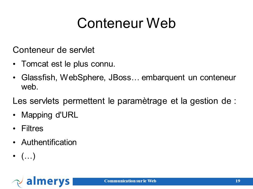 Communication sur le Web19 Conteneur Web Conteneur de servlet Tomcat est le plus connu.