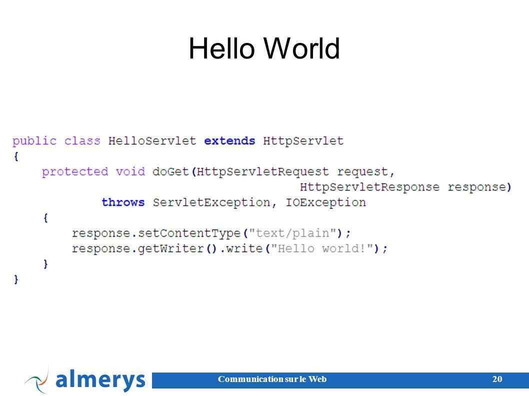 Communication sur le Web20 Hello World