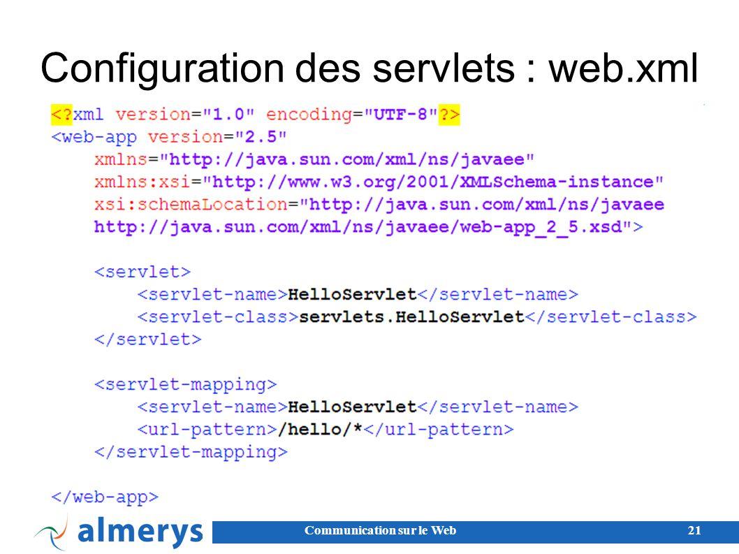 Communication sur le Web21 Configuration des servlets : web.xml