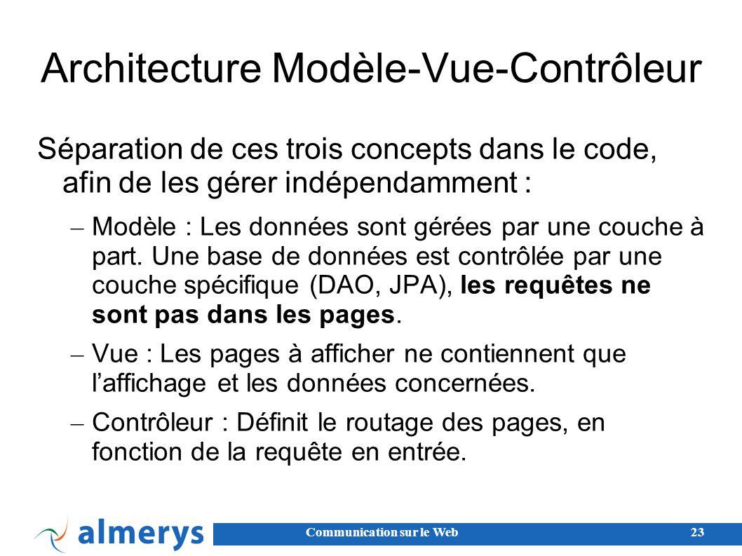 Communication sur le Web23 Architecture Modèle-Vue-Contrôleur Séparation de ces trois concepts dans le code, afin de les gérer indépendamment : – Modèle : Les données sont gérées par une couche à part.