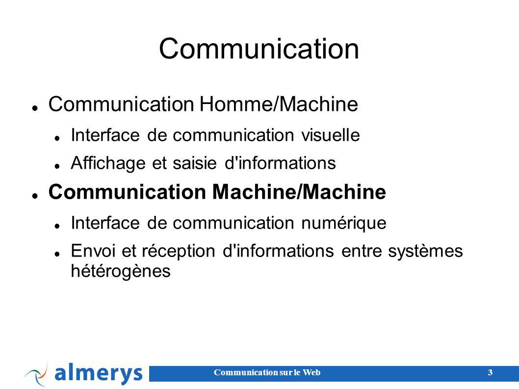 Communication sur le Web3 Communication Communication Homme/Machine Interface de communication visuelle Affichage et saisie d informations Communication Machine/Machine Interface de communication numérique Envoi et réception d informations entre systèmes hétérogènes