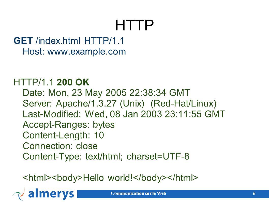 Communication sur le Web17 Embarqué dans le serveur Web Les programmes sont embarqués dans le serveur web : mod_python mod_perl mod_php Servlets (...) Approche relativement simple, mais : attention aux crashes / sécurité alourdit le serveur attention à la montée en charge