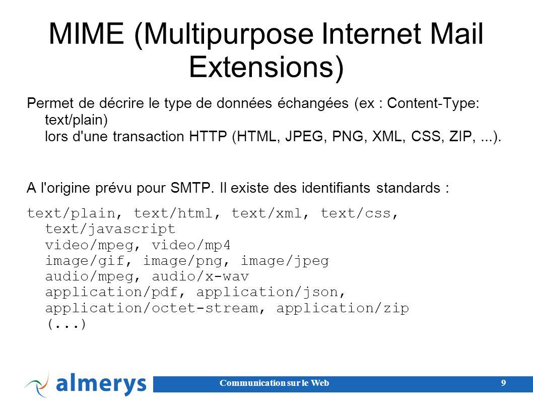 Communication sur le Web9 MIME (Multipurpose Internet Mail Extensions) Permet de décrire le type de données échangées (ex : Content-Type: text/plain) lors d une transaction HTTP (HTML, JPEG, PNG, XML, CSS, ZIP,...).