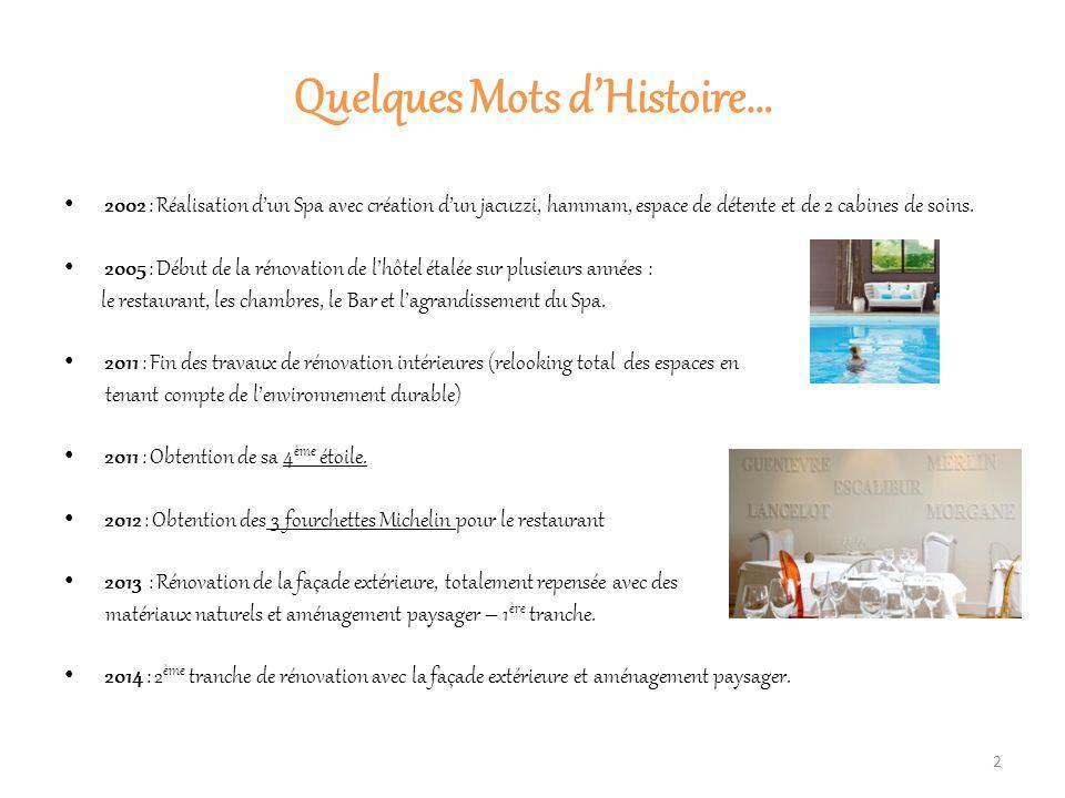 Quelques Mots d'Histoire… 2002 : Réalisation d'un Spa avec création d'un jacuzzi, hammam, espace de détente et de 2 cabines de soins.