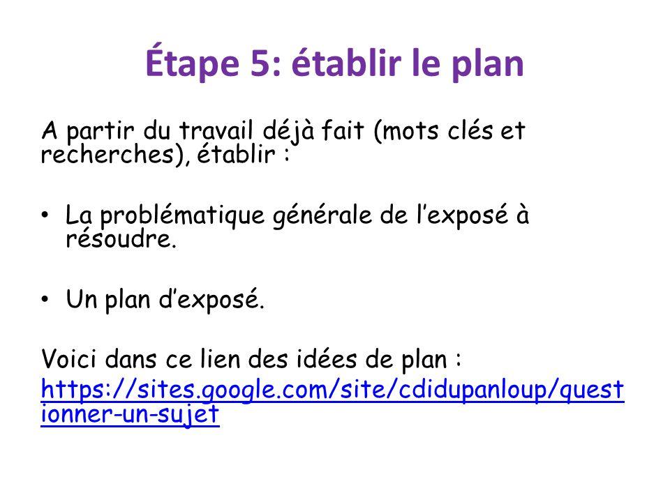 Étape 5: établir le plan A partir du travail déjà fait (mots clés et recherches), établir : La problématique générale de l'exposé à résoudre. Un plan