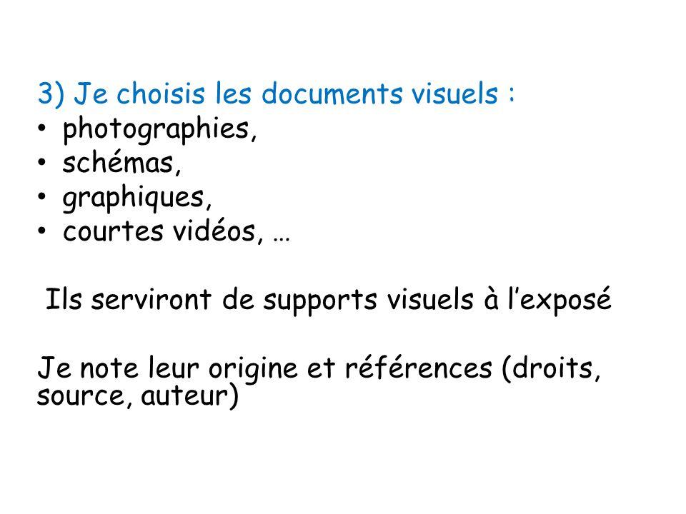 3) Je choisis les documents visuels : photographies, schémas, graphiques, courtes vidéos, … Ils serviront de supports visuels à l'exposé Je note leur