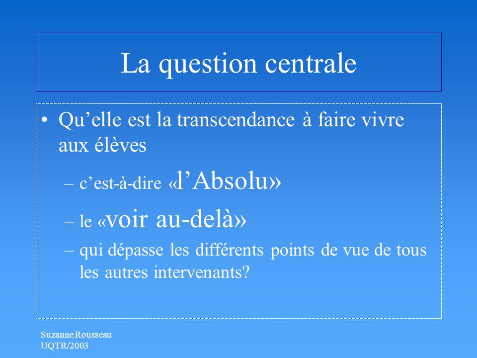 Suzanne Rousseau UQTR/2003 La question centrale Qu'elle est la transcendance à faire vivre aux élèves –c'est-à-dire « l'Absolu» –le « voir au-delà» –qui dépasse les différents points de vue de tous les autres intervenants