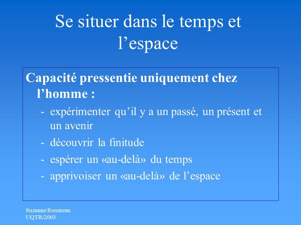 Suzanne Rousseau UQTR/2003 Se situer dans le temps et l'espace Capacité pressentie uniquement chez l'homme : -expérimenter qu'il y a un passé, un présent et un avenir -découvrir la finitude -espérer un «au-delà» du temps -apprivoiser un «au-delà» de l'espace