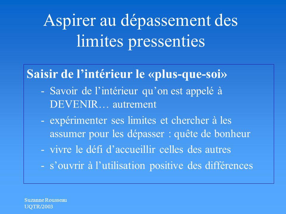 Suzanne Rousseau UQTR/2003 Aspirer au dépassement des limites pressenties Saisir de l'intérieur le «plus-que-soi» -Savoir de l'intérieur qu'on est appelé à DEVENIR… autrement -expérimenter ses limites et chercher à les assumer pour les dépasser : quête de bonheur -vivre le défi d'accueillir celles des autres -s'ouvrir à l'utilisation positive des différences