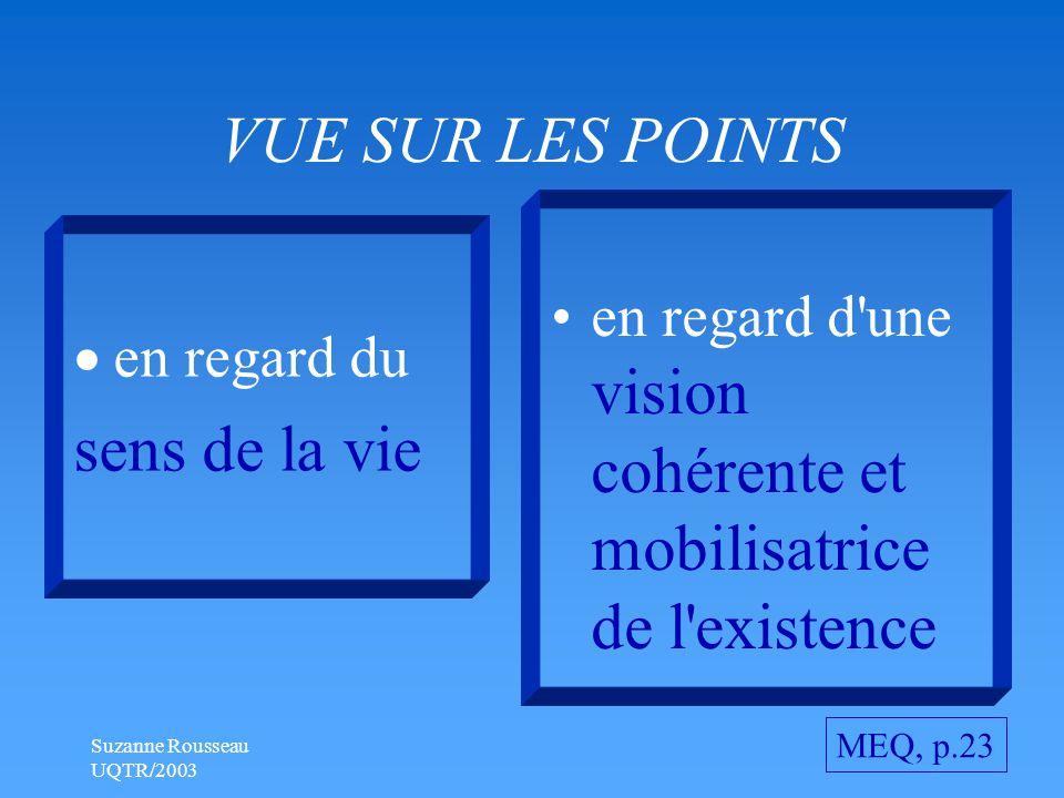 Suzanne Rousseau UQTR/2003 VUE SUR LES POINTS  en regard du sens de la vie en regard d une vision cohérente et mobilisatrice de l existence MEQ, p.23