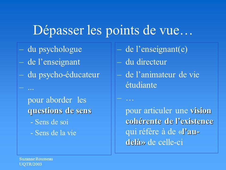 Suzanne Rousseau UQTR/2003 Dépasser les points de vue… –du psychologue –de l'enseignant –du psycho-éducateur –...