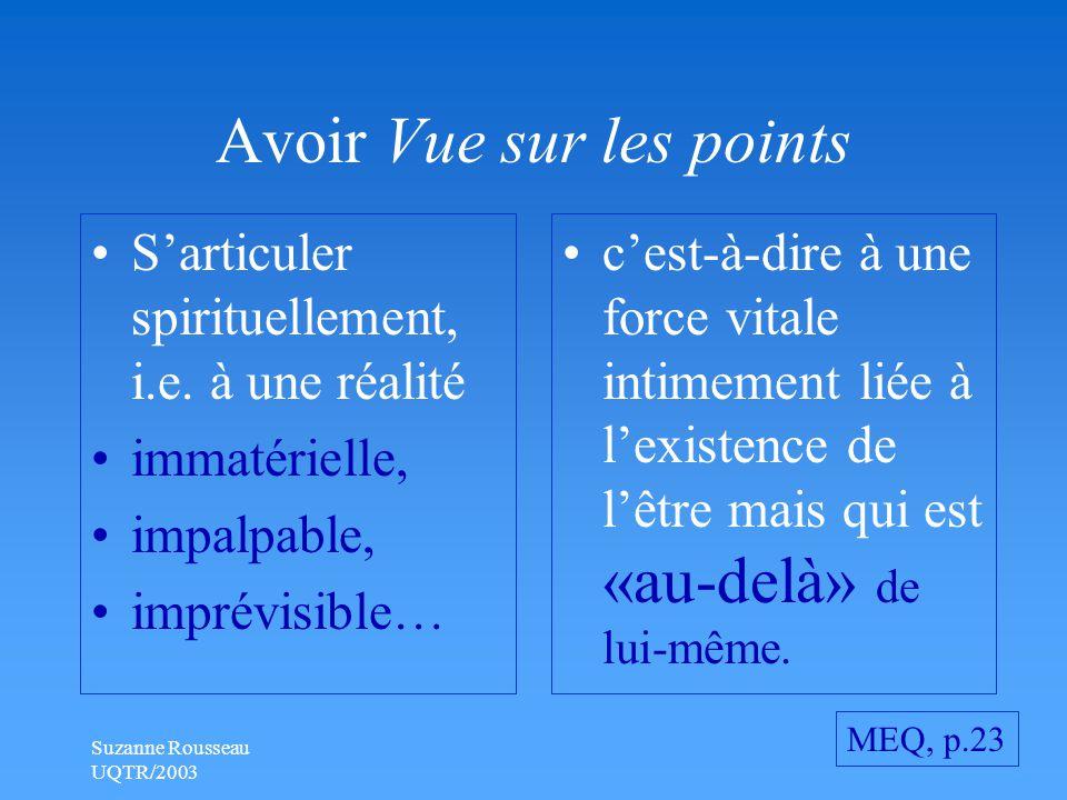 Suzanne Rousseau UQTR/2003 Avoir Vue sur les points S'articuler spirituellement, i.e.