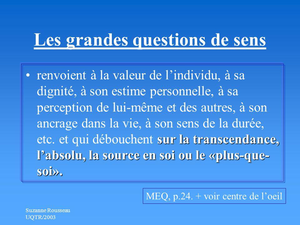 Suzanne Rousseau UQTR/2003 Les grandes questions de sens sur la transcendance, l'absolu, la source en soi ou le «plus-que- soi».renvoient à la valeur de l'individu, à sa dignité, à son estime personnelle, à sa perception de lui-même et des autres, à son ancrage dans la vie, à son sens de la durée, etc.