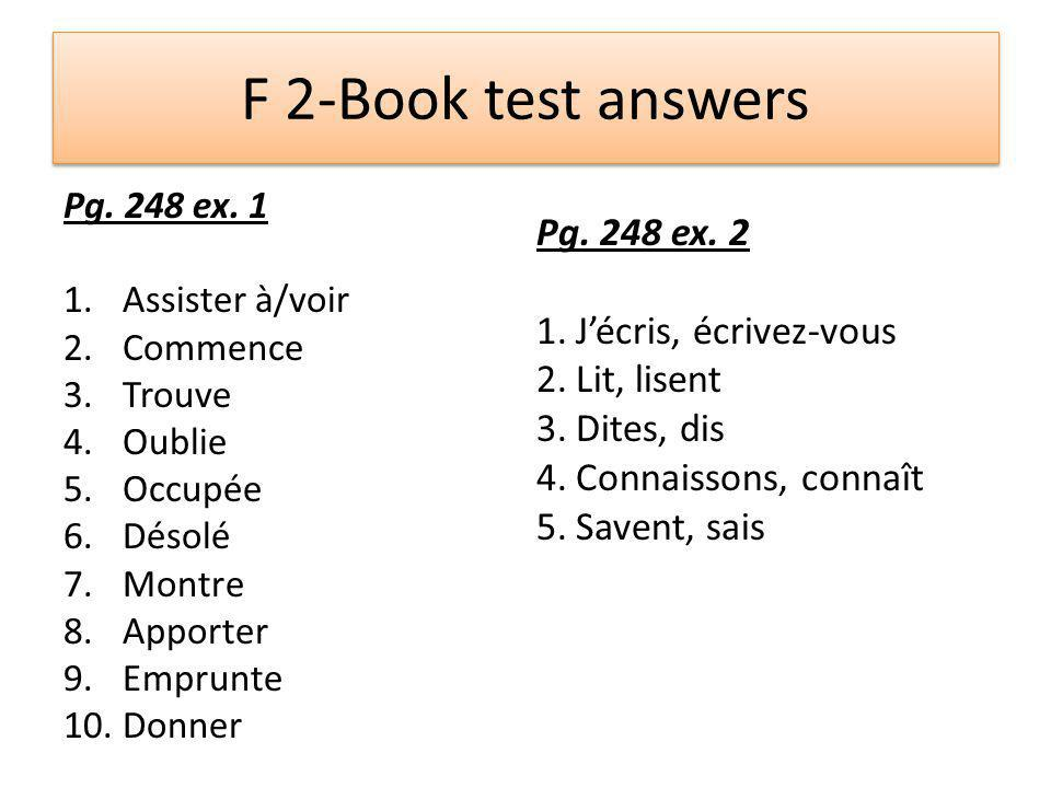 F 2-Book test answers Pg. 248 ex.