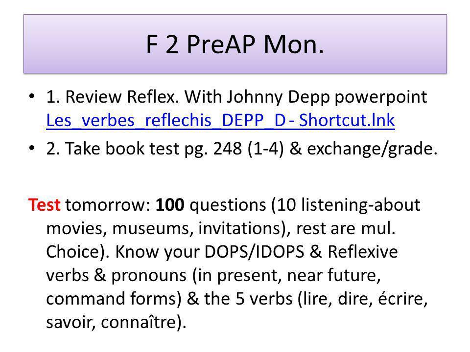F 2 PreAP Mon. 1. Review Reflex.
