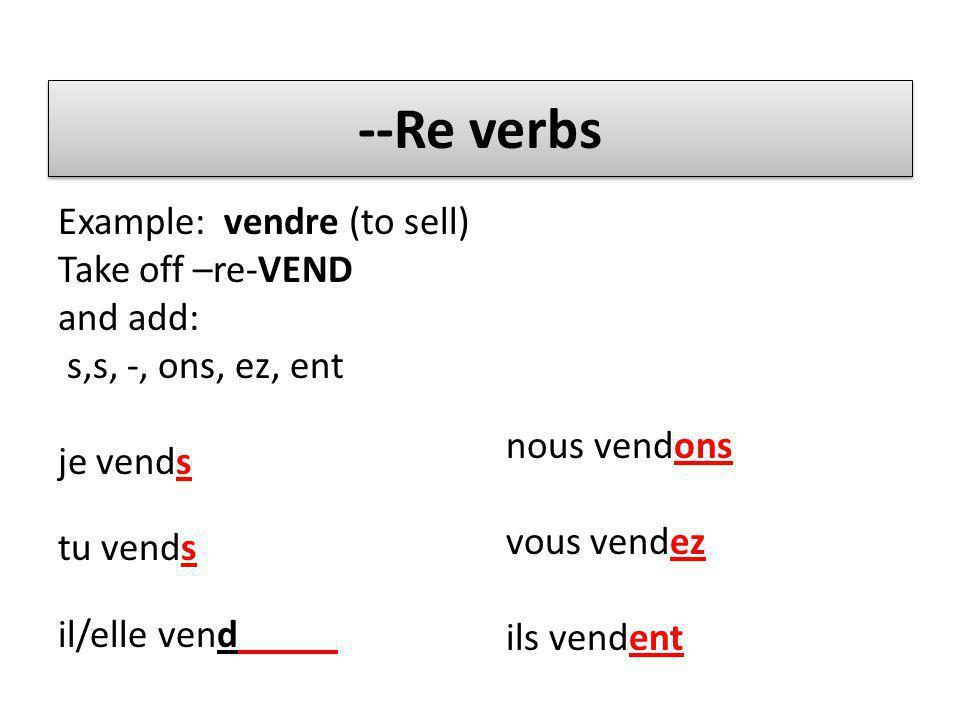 --Re verbs Example: vendre (to sell) Take off –re-VEND and add: s,s, -, ons, ez, ent je vends tu vends il/elle vend_____ nous vendons vous vendez ils vendent