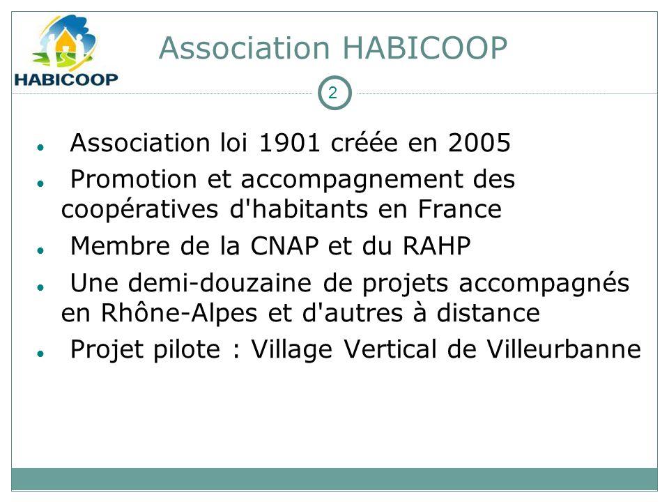 Association HABICOOP Association loi 1901 créée en 2005 Promotion et accompagnement des coopératives d habitants en France Membre de la CNAP et du RAHP Une demi-douzaine de projets accompagnés en Rhône-Alpes et d autres à distance Projet pilote : Village Vertical de Villeurbanne 2