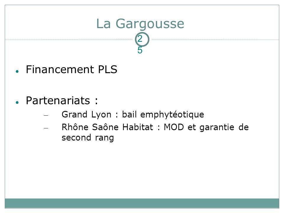 La Gargousse Financement PLS Partenariats : – Grand Lyon : bail emphytéotique – Rhône Saône Habitat : MOD et garantie de second rang 25