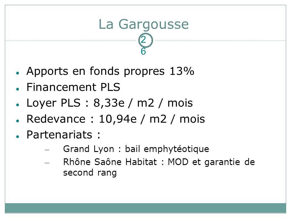 La Gargousse Apports en fonds propres 13% Financement PLS Loyer PLS : 8,33e / m2 / mois Redevance : 10,94e / m2 / mois Partenariats : – Grand Lyon : bail emphytéotique – Rhône Saône Habitat : MOD et garantie de second rang 26