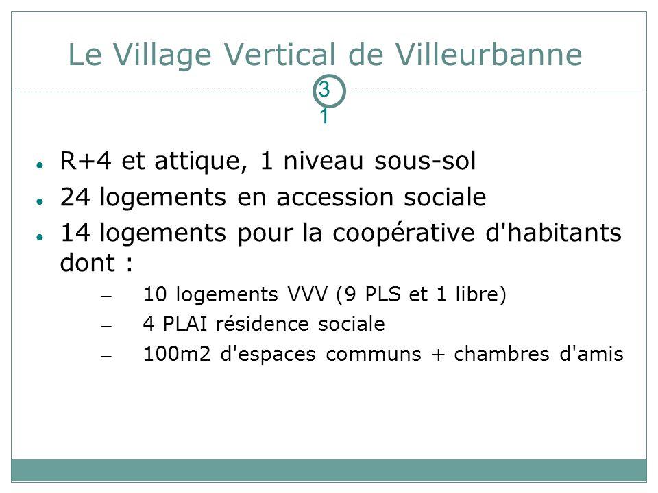 R+4 et attique, 1 niveau sous-sol 24 logements en accession sociale 14 logements pour la coopérative d'habitants dont : – 10 logements VVV (9 PLS et 1