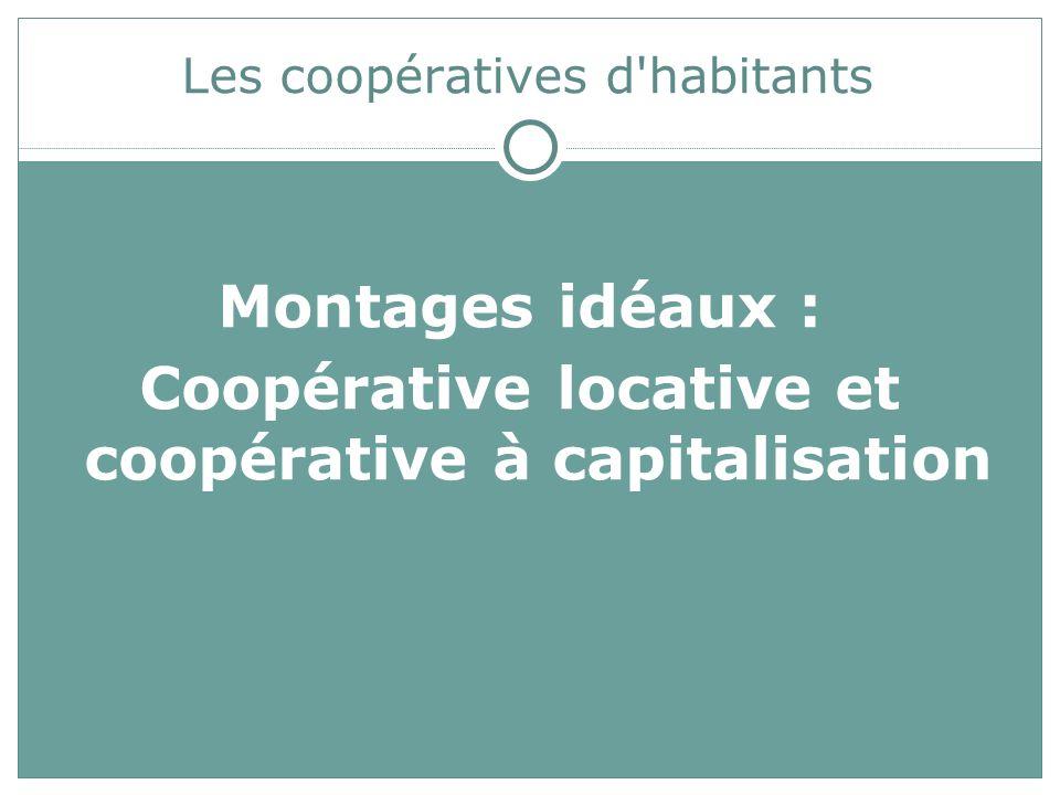 Les coopératives d habitants Montages idéaux : Coopérative locative et coopérative à capitalisation