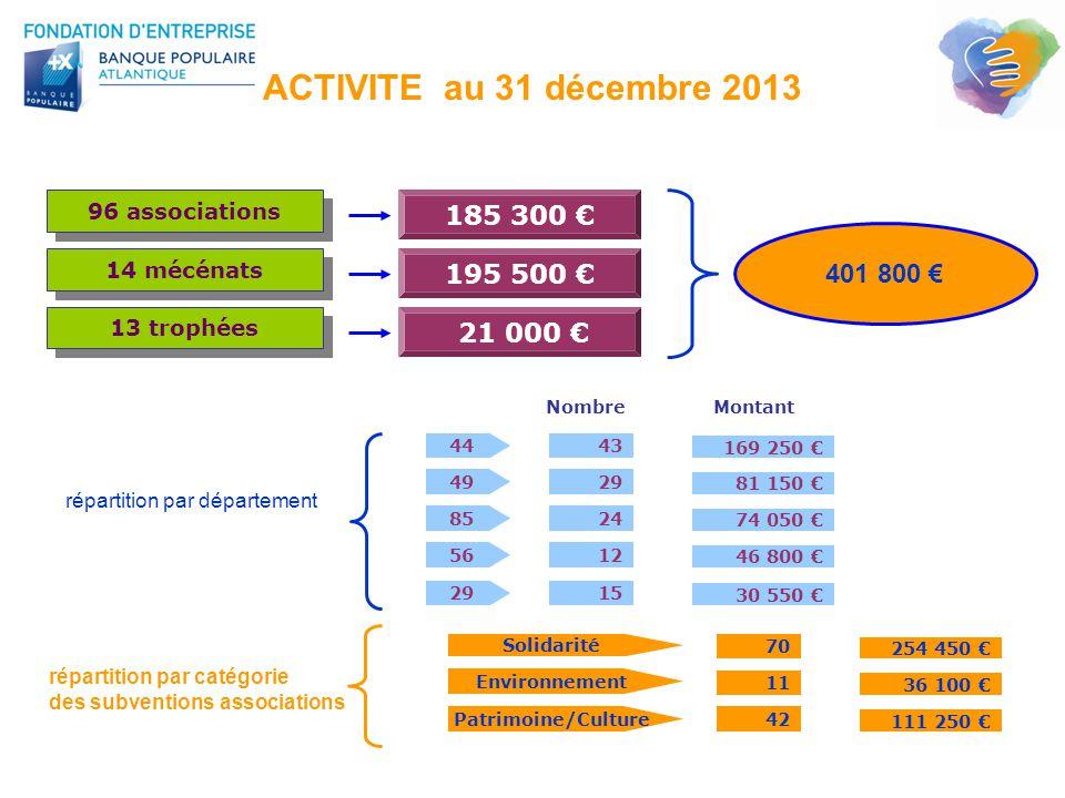 ACTIVITE au 31 décembre 2013 96 associations 44 49 85 56 43 29 24 12 NombreMontant 169 250 € 81 150 € 74 050 € 46 800 € 185 300 € répartition par dépa