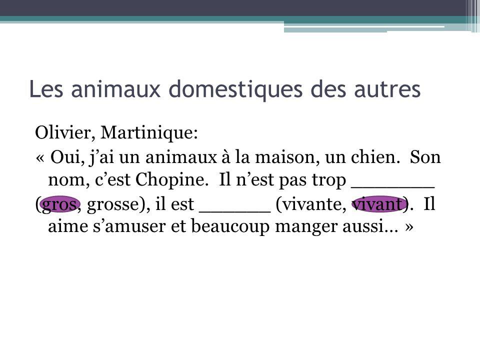 Les animaux domestiques des autres Olivier, Martinique: « Oui, j'ai un animaux à la maison, un chien. Son nom, c'est Chopine. Il n'est pas trop ______