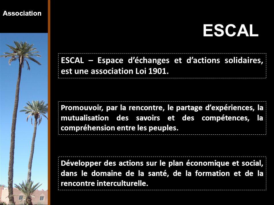 Association ESCAL – Espace d'échanges et d'actions solidaires, est une association Loi 1901. Développer des actions sur le plan économique et social,