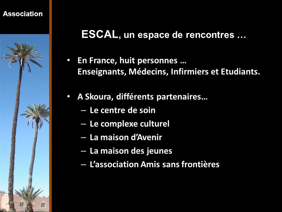 Association ESCAL, un espace de rencontres … En France, huit personnes … Enseignants, Médecins, Infirmiers et Etudiants. A Skoura, différents partenai