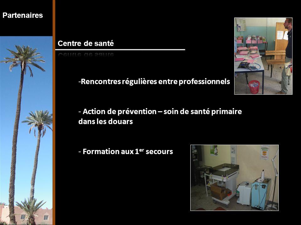 Partenaires -Rencontres régulières entre professionnels - Action de prévention – soin de santé primaire dans les douars - Formation aux 1 er secours
