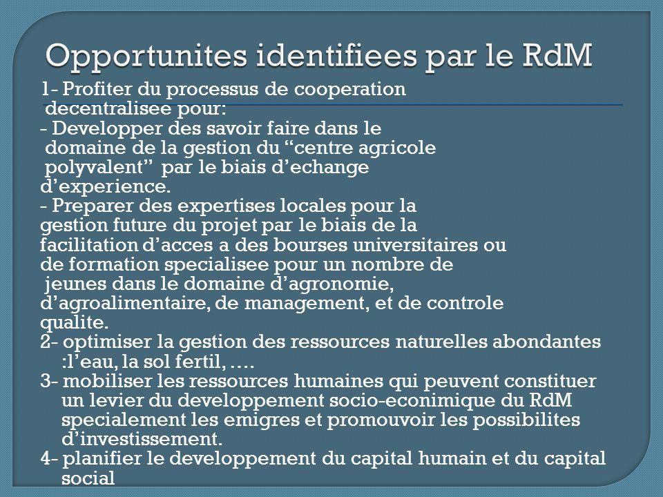 1- Profiter du processus de cooperation decentralisee pour: - Developper des savoir faire dans le domaine de la gestion du centre agricole polyvalent par le biais d'echange d'experience.