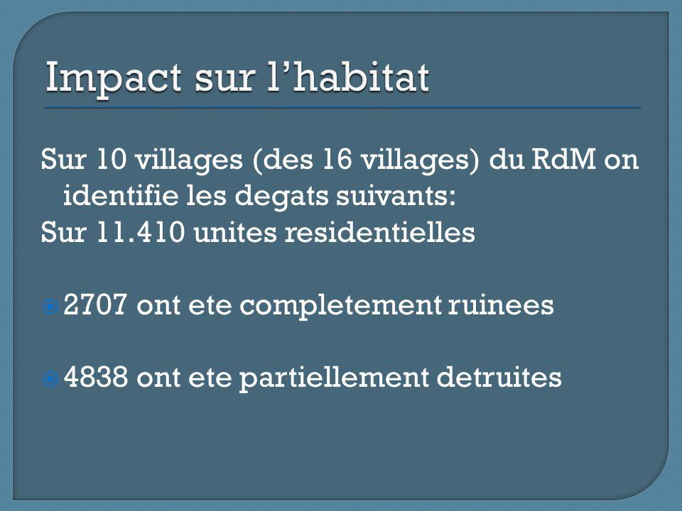 Sur 10 villages (des 16 villages) du RdM on identifie les degats suivants: Sur 11.410 unites residentielles  2707 ont ete completement ruinees  4838 ont ete partiellement detruites