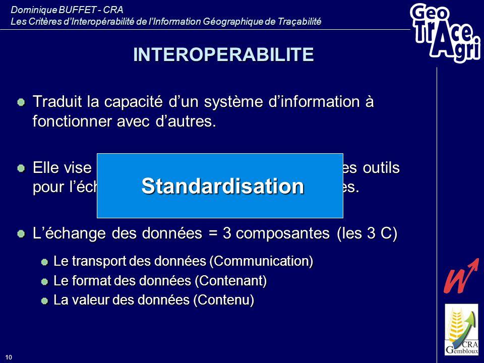 Dominique BUFFET - CRA Les Critères d'Interopérabilité de l'Information Géographique de Traçabilité 10 INTEROPERABILITE Traduit la capacité d'un systè