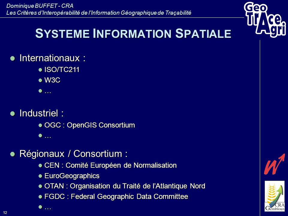 Dominique BUFFET - CRA Les Critères d'Interopérabilité de l'Information Géographique de Traçabilité 12 S YSTEME I NFORMATION S PATIALE Internationaux