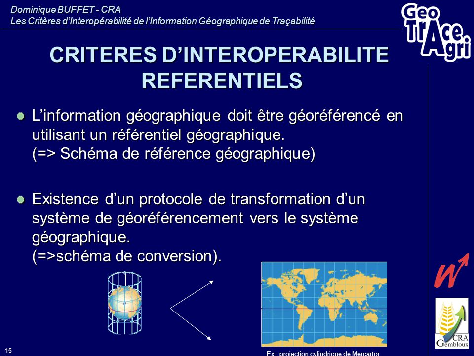 Dominique BUFFET - CRA Les Critères d'Interopérabilité de l'Information Géographique de Traçabilité 15 L'information géographique doit être géoréféren