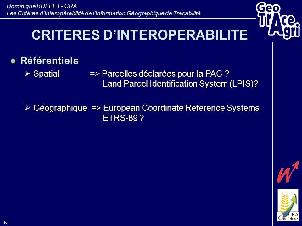 Dominique BUFFET - CRA Les Critères d'Interopérabilité de l'Information Géographique de Traçabilité 16 Référentiels  Spatial => Parcelles déclarées p