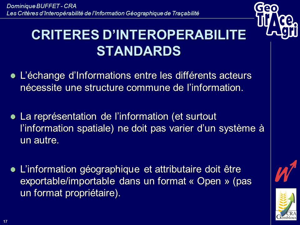 Dominique BUFFET - CRA Les Critères d'Interopérabilité de l'Information Géographique de Traçabilité 17 L'échange d'Informations entre les différents a