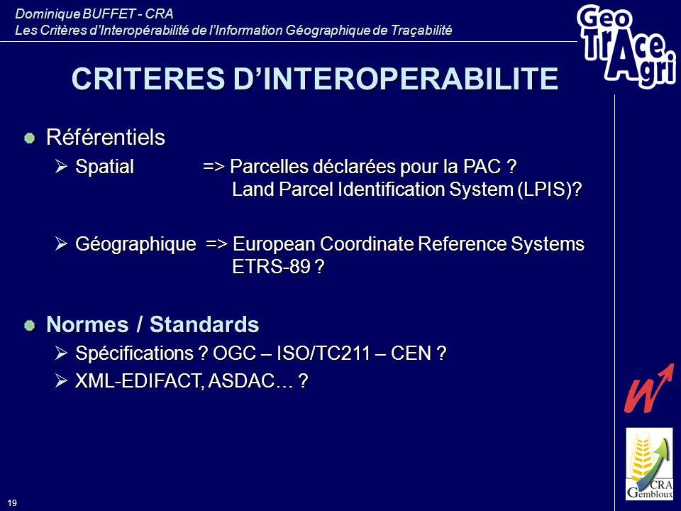 Dominique BUFFET - CRA Les Critères d'Interopérabilité de l'Information Géographique de Traçabilité 19 Référentiels  Spatial => Parcelles déclarées p
