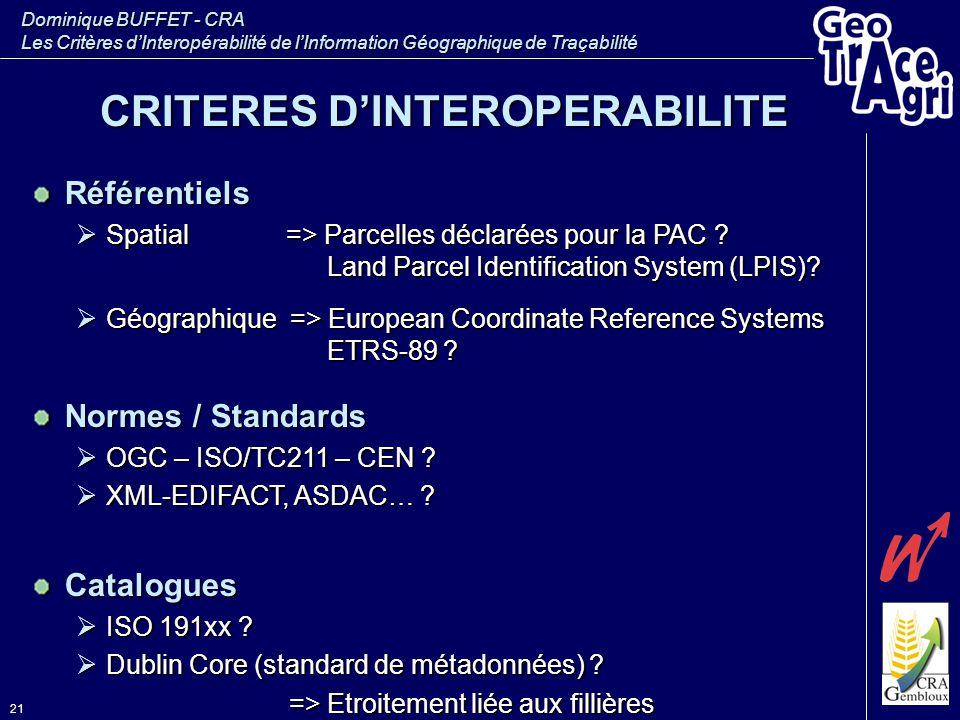 Dominique BUFFET - CRA Les Critères d'Interopérabilité de l'Information Géographique de Traçabilité 21 Référentiels  Spatial => Parcelles déclarées p