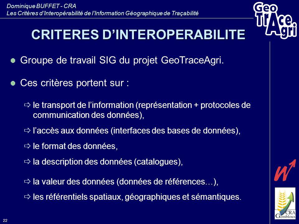 Dominique BUFFET - CRA Les Critères d'Interopérabilité de l'Information Géographique de Traçabilité 22 Groupe de travail SIG du projet GeoTraceAgri. C