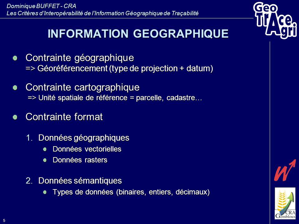 Dominique BUFFET - CRA Les Critères d'Interopérabilité de l'Information Géographique de Traçabilité 5 INFORMATION GEOGRAPHIQUE Contrainte géographique
