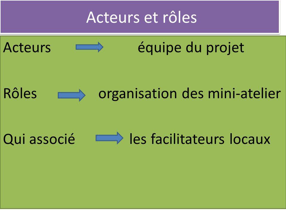 Acteurs et rôles Acteurs équipe du projet Rôles organisation des mini-atelier Qui associé les facilitateurs locaux