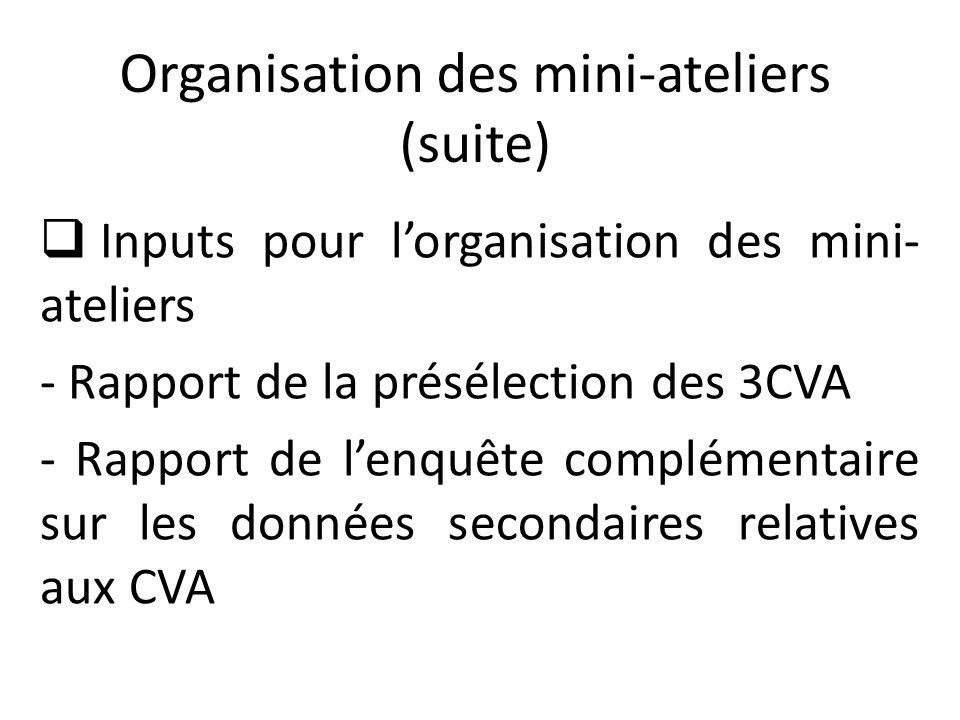 Organisation des mini-ateliers (fin) Résultats attendus des mini-ateliers - Les CVA sont sélectionnées -Les acteurs des CVA maitrisent l'approche de mise en place des PI -La cartographie de la CVA sélectionnée par zone d'installation de la PI est disponible