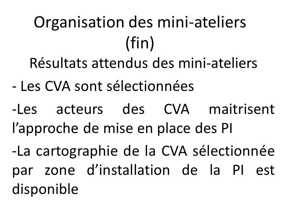 Organisation des mini-ateliers (fin) Résultats attendus des mini-ateliers - Les CVA sont sélectionnées -Les acteurs des CVA maitrisent l'approche de m