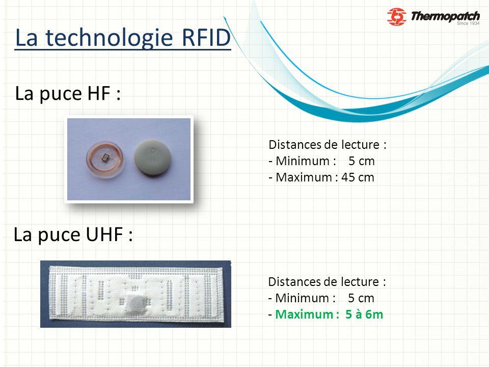 La technologie RFID La puce HF : La puce UHF : Distances de lecture : - Minimum : 5 cm - Maximum : 45 cm Distances de lecture : - Minimum : 5 cm - Maximum : 5 à 6m