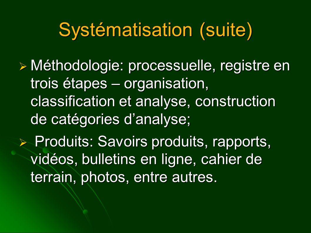Systématisation (suite)  Méthodologie: processuelle, registre en trois étapes – organisation, classification et analyse, construction de catégories d'analyse;  Produits: Savoirs produits, rapports, vidéos, bulletins en ligne, cahier de terrain, photos, entre autres.