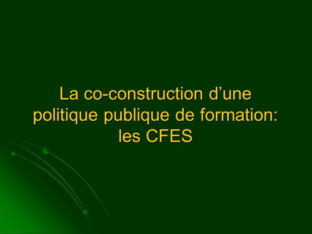 La co-construction d'une politique publique de formation: les CFES